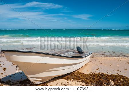 Motorboat on the beach