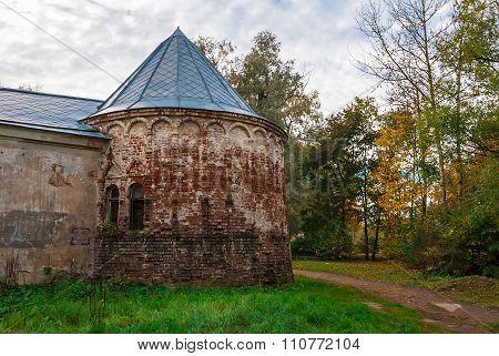Medieval tower in autumn scene