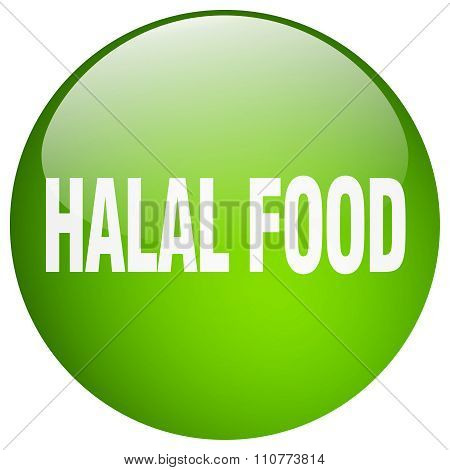 Halal Food Green Round Gel Isolated Push Button