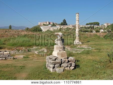 Ruins of temple of Artemis in the district of Ephesus