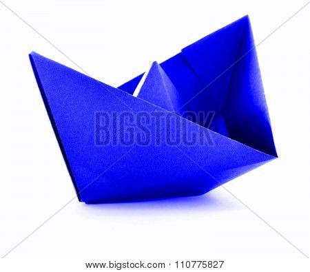 Blue Paper Navy Origami Sail Boat Isolated On White Background