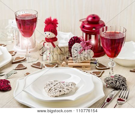 Winter Romantic Evening On Valentine's Day. Valentine's Day Table Setting With Candles And Decoratio