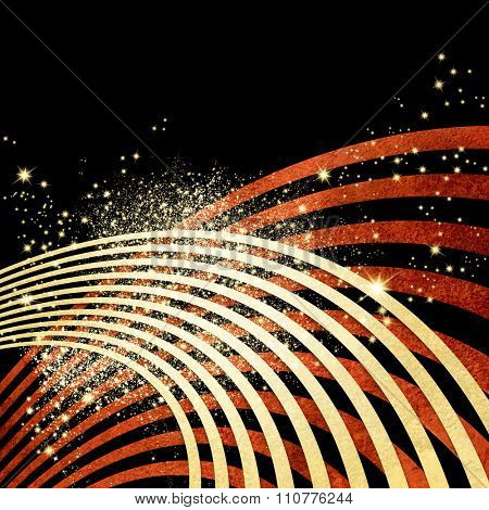 Black background with red wavy lines and sparkling lights - dynamic music concept with abstract radio sound waves