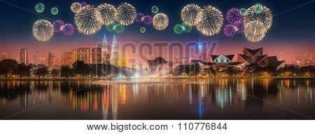 Beautiful fireworks above cityscape of Kuala Lumpur skyline