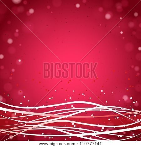 Abstract Red Background with Waves and Lights