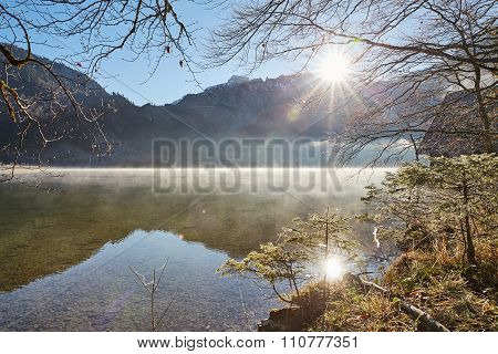 Fog Above Lake Offensee On A Sunny Winter Day