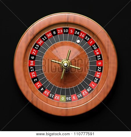 Roulette wheel on black background.From above