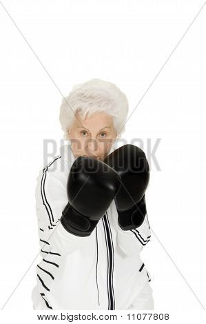elderly woman with boxing gloves