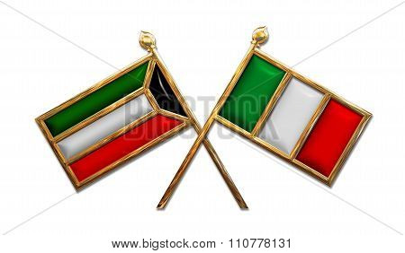 Diplomacy Kuwait And Italy Flags