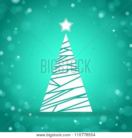 Abstract triangular Christmas Tree on the turquoise background