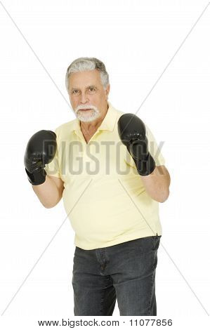 elderly man with boxing gloves
