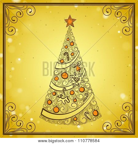 Vintage Gold Greeting Card with Hand Drawn Christmas Tree