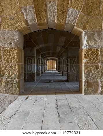 CAIRO, EGYPT - December 3: A Passage Under Kayetbey Citadel. An Old Citadel In Alexandria, Egypt