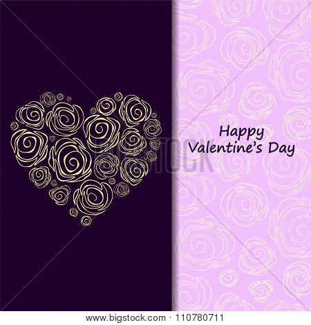 Stock Vector  Card, Poster, Banner Template With Heart. Valentine's Day