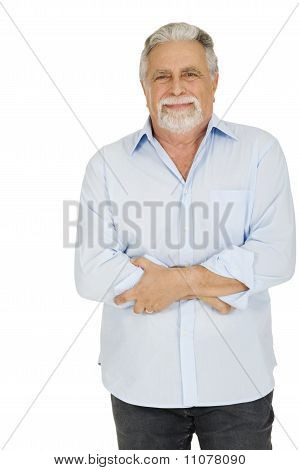 old man with stomach pain