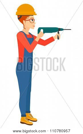 A constructor drilling a hole using a perforator vector flat design illustration isolated on white background. Vertical layout.