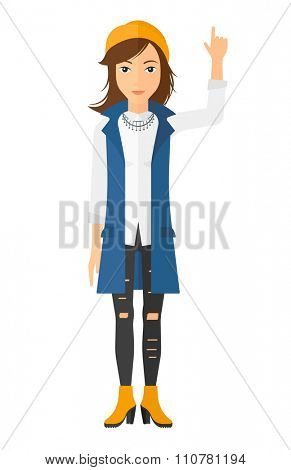 A happy young woman pointing up with her forefinger vector flat design illustration isolated on white background. Vertical layout.