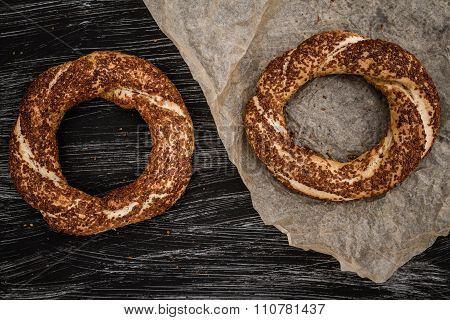 Simit, Nicely Baked Traditional Turkish Bagel With Sesame