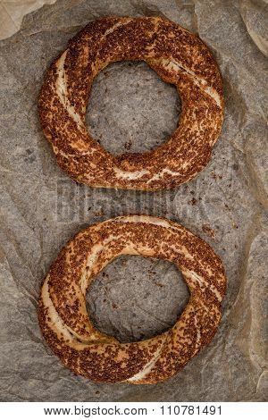 Simit, Nicely Baked Traditional Turkish Bagels With Sesame