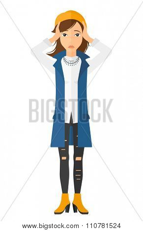 A disappointed young woman standing and clutching her head vector flat design illustration isolated on white background. Vertical layout.
