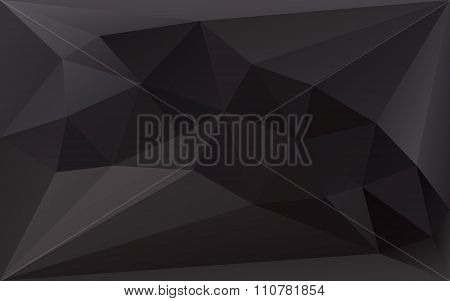 Black Polygonal Triangle Vector Background, Dark Color Texture, In Vector