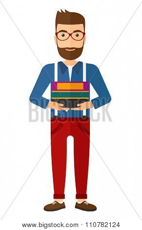 A caucasian hipster man with the beard standing with pile of folders vector flat design illustration isolated on white background. Vertical layout.
