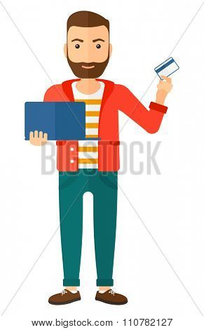 A happy young hipster man with the beard holding a laptop and a credit card in hands making purchases online vector flat design illustration isolated on white background. Vertical layout.