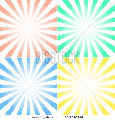 Vector Set Of Backgrounds With Centered Symmetrical Rays - Yellow, Pink, Blue, And Green, With White