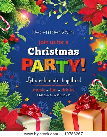 Christmas Party poster design. Vector illustration.