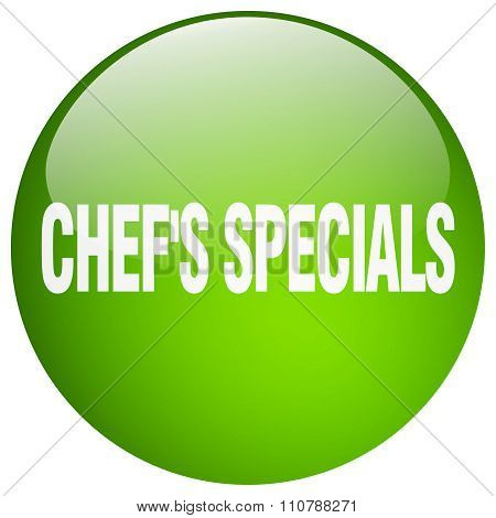Chef's Specials Green Round Gel Isolated Push Button