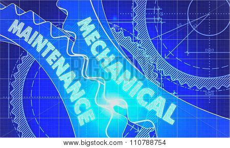 Mechanical Maintenance Concept. Blueprint of Gears.