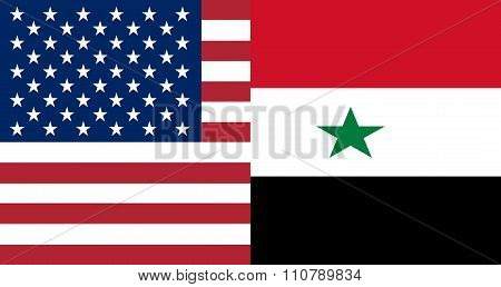 American And Syrian Flags Together