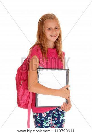 Happy Schoolgirl Ready For School.
