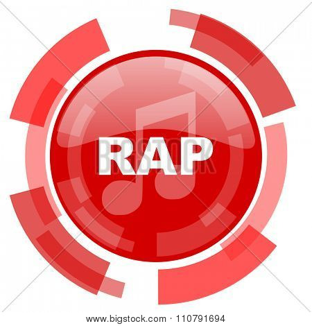 rap music red glossy web icon