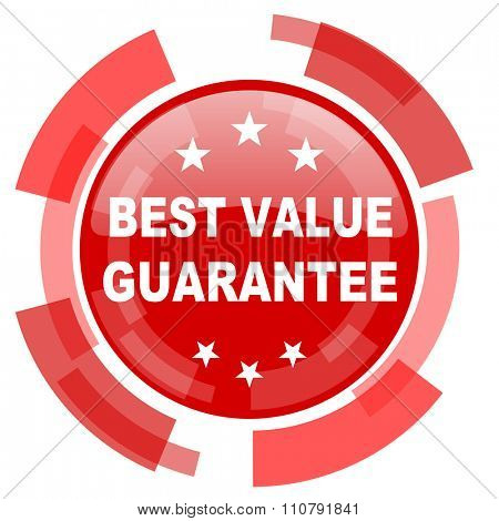 best value guarantee red glossy web icon