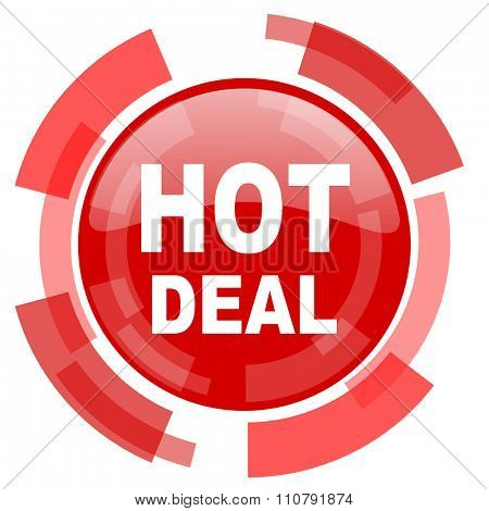 hot deal red glossy web icon