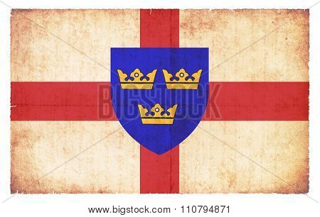 Grunge Flag Of East Anglia (great Britain)