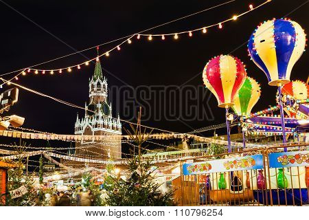Spasskaya Tower And Christmas Fair On Red Square