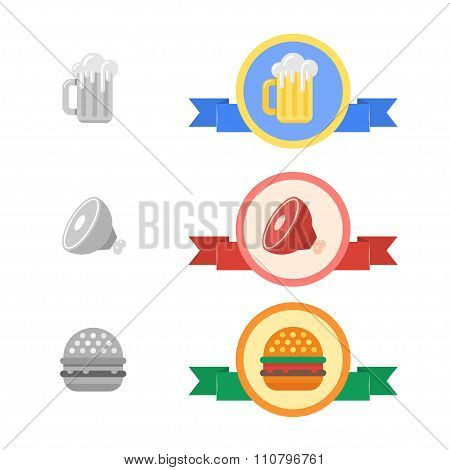 Badges of cold beer, meat and hamburger