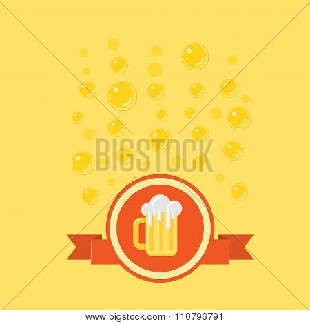 Beer badge with a bubbles on background