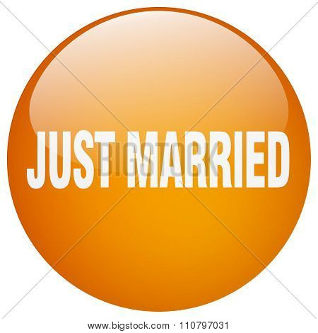 Just Married Orange Round Gel Isolated Push Button