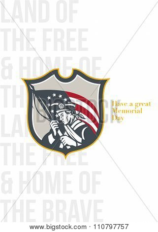 Memorial Day Greeting Card Patriot Holding American Flag