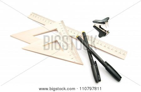 Staple Remover, Black Pens And Ruler