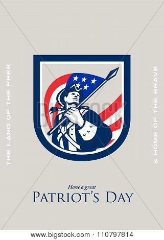 Patriots Day Greeting Card American Patriot  Usa Flag Look Up Crest