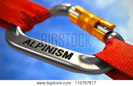 Chrome Carabiner Hook with Text Alpinism.