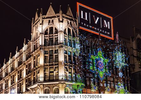 Christmas Illumination Of Tsum Store In Moscow