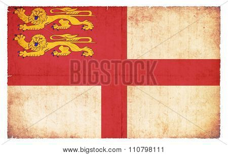 Grunge Flag Of Sark (british Crown Estates)