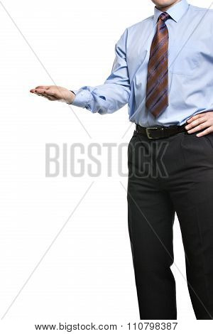 Businessman Presenting Something On His Empty Palm