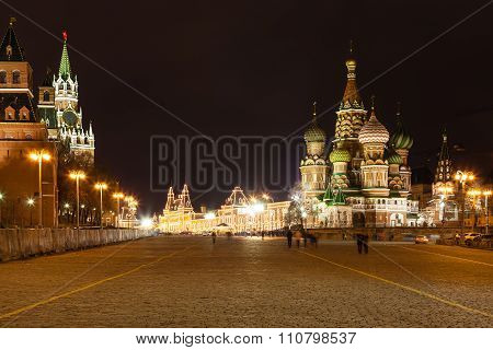 Vasilevsky Descent Of Red Square In Night