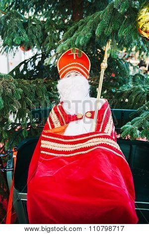 Saint Nicholas Human Scale Toy With Mitre And Pastoral Staff